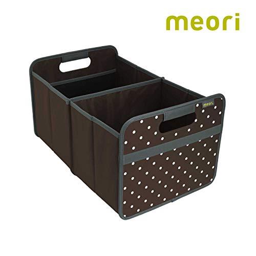 meori Faltbox Large in Kakao mit Punkten – Stabile Klappbox L mit Griffen - die perfekte Allzweck Aufbewahrungslösung – Tragkraft bis 30 kg - A100009 - 32 x 50 x 27,5 cm
