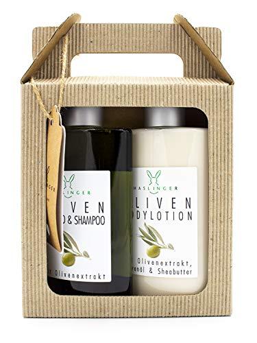 Oliven Duschbad & Shampoo und Bodylotion im Geschenkkarton, je 200 ml
