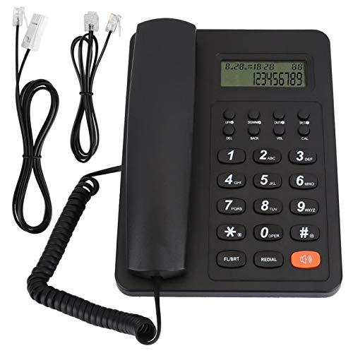 Teléfono con Cable, DTMF FSK Dual System Classic Teléfono con Cable de Escritorio Multifuncional para el hogar para la Oficina(Negro)