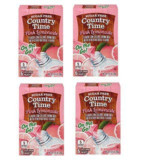 (4 Pack) Country Time On-The-Go Sugar-Free Pink Lemonade Powdered Soft Drink, 6-0.9 oz Packets