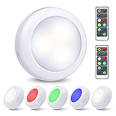 Elfeland LED Closet Lights Under Cabinet Lighting Wireless Color Changing LED Puck Lights 3 Modes RGB Under Counter Lighting with 2 Remote Controls Battery Powered Lights Stick On Lights (6 Pack)