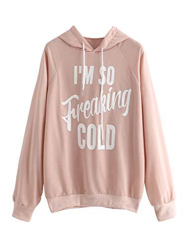 SweatyRocks Women's Hoodie Letter Print Long Sleeve Hooded Sweatshirt Pullover Top Pink Medium
