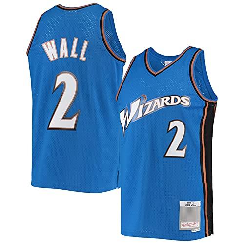 ZHILIN John Wall Herren #2 Mesh Basketball Trikot Washington Wizards Classic 2010-11 Hardwood Classics Freizeit und Komfort Jersey - Blau