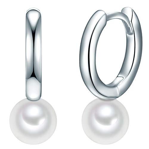 Valero Pearls Damen-Creolen Sterling Silber 925 Süßwasser-Zuchtperlen weiß - Ohrhänger für Frauen mit Süßwasser-perle