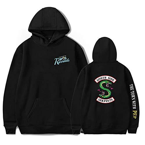 Unisex Riverdale Southside Serpents Winter Autumn Casual Hoodies Print Plus Cotton Sweater Fashion Hoodie (black, 4XL)
