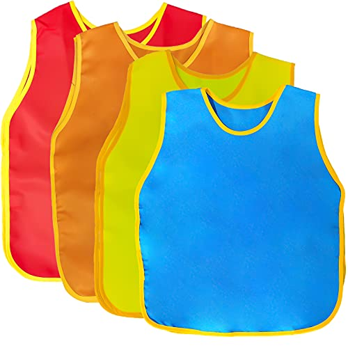 4Pack Smock for Kids,Children Waterproof Art Smock Painting Feeding, Kids Painting Apron Handwork, Cooking, Toddler Paint Smock for Age 2-6 Years Gifts