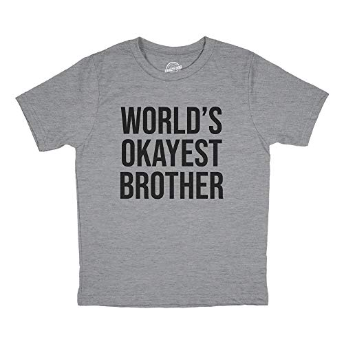 Youth Worlds Okayest Brother Shirt Funny T Shirt Big Brother Novelty Gift Fun (Light Heather Grey) - S