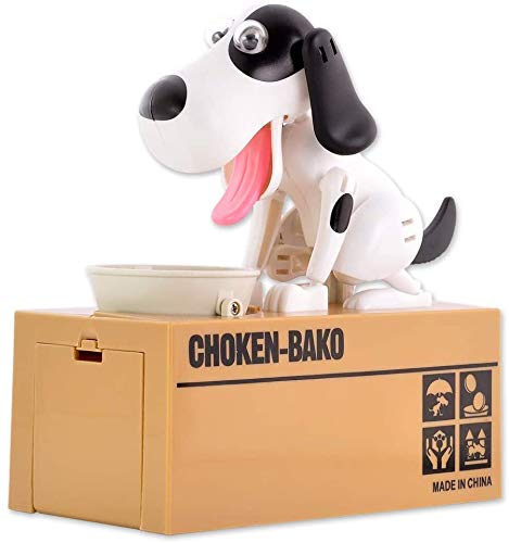 Viskey Cute Eating Coin Dog Piggy Bank, spotted dog-1