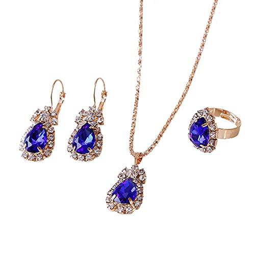 XPT Juego de 3 piezas de joyería para mujer, diseño de gota de agua brillante de aleación de diamantes de imitación, collar y pendientes, accesorios de joyería azul real