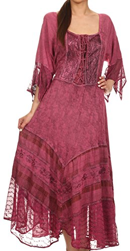 Sakkas 15224 - Bexley Scoop Neck Bell Ärmel Bohemian Gypsy Besticktes Korsett Kleid - Orchidee - 1X / 2X
