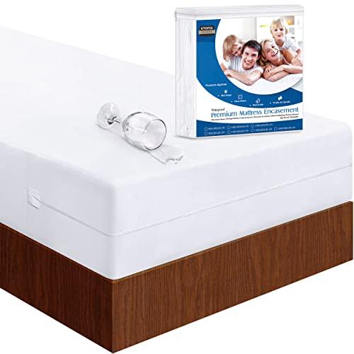Utopia Bedding Impermeable Funda De Colchón 150 x 200 x 30 cm con Cremallera, Protector De Colchón a Prueba De Chinches Y Ácaros