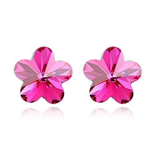 LIUBAOBEI Pendientes De Mujer Aro,Crystal from Cubic Five Petals Flower Pendientes De Botón Elegantes para Mujeres Joyería Fina Encantadora-Pink_As_Shown