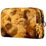 Trousse de toilette portable personnalisée pour pinceaux de maquillage, trousse de toilette pour femme, sac à main, organiseur de voyage mignon poussins jaunes sur un poulailler