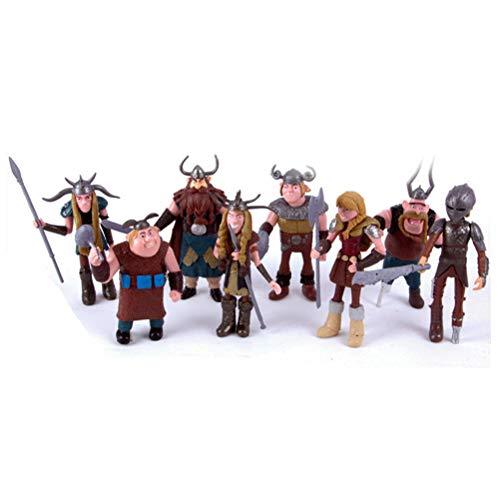 CAKJCAR 8 juguetes de muñeca vikinga para entrenar a tu dragón, regalo de cumpleaños, día festivo, regalo de Navidad