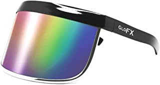 GloFX Visor Sunglasses - Rainbow Mirror - Oversized Flat Futuristic Face Shield Mono Galactic Invader