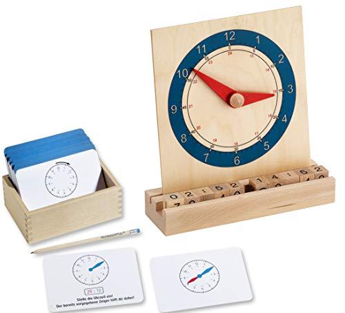 1,2,3 die Uhr lernen mit Montessori-Material, inkl. Lernuhr aus Holz und großer Arbeitskartei