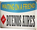 mengliangpu8190 Aluminum Sign, Retro Sign Vintage Decorative Tin Sign Metal Plate Poster Plaque Retro Art Metropole Buenos Aires Argentina 7' x 10' Metal Sign