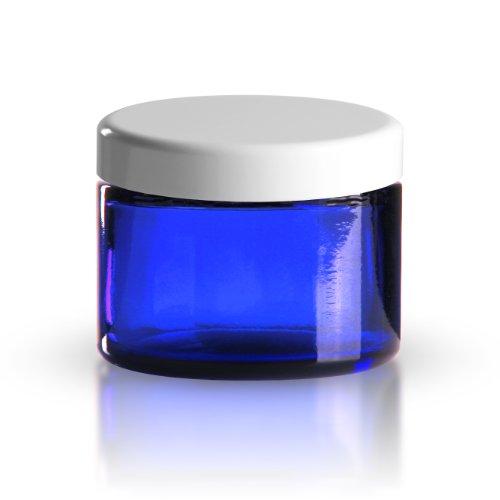 GT Goods Trade GmbH 5 x Glastiegel Blauglas 50ml / Salbentiegel / Cremetopf inkl. Schraubverschluss weiss