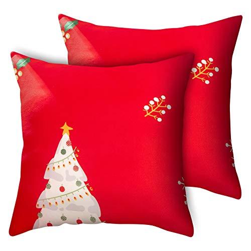 papasgix Fundas para Sofa 1/2/3/4 Plazas Funda de Sofá Elastica Moderna Fundas Decorativas para Sofás Ajustables Estampada Cubre Sofa Funda Protectora para Sofá(Navidad Rojo,45×45cm*2)