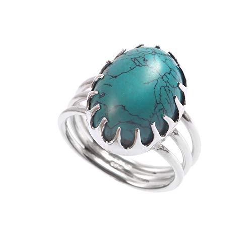 Anillo de plata de ley 925|Anillo de piedras preciosas de Turquesa natural para mujer|Anillo de piedras preciosas naturales para niñas|Anillo de compromiso, anillo de Turquesa|Tamaño del anillo 14.5