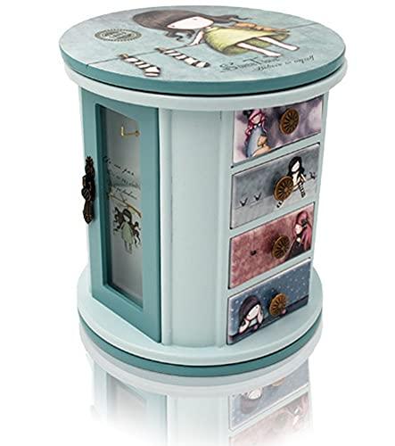 CHXISHOP Joyero de madera para niños, organizador de joyas, caja de almacenamiento de joyas con diseño de ángel y niña, con cajón, compartimento de almacenamiento, ranuras para anillos