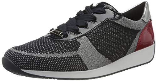 ara Damen LISSABON Sneaker, Metallic-Blau Navy, Rosso/Silber 38), 40 EU(6.5 UK)