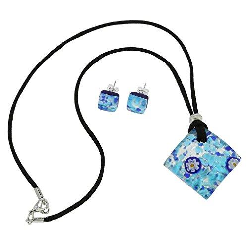 Preisvergleich Produktbild GlassOfVenice Ensemble Collier et boucles d'oreilles Reflets vénitiens - Bleu Aqua