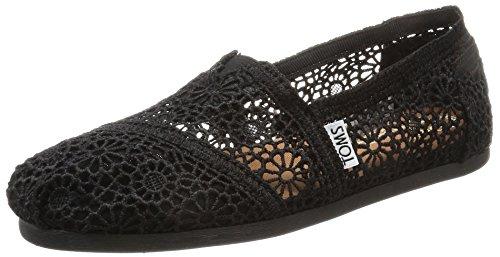 TOMS Women's Black Moroccan Crochet Classic 10007853 (Size: 9)