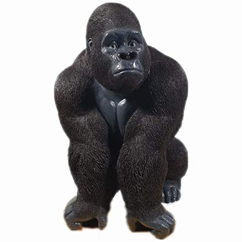 Aspinaworld Großer Gorilla sitzt auf der lauer 110 cm wetterfeste Gartenfigur Affen Figur Dekofigur Tierfigur
