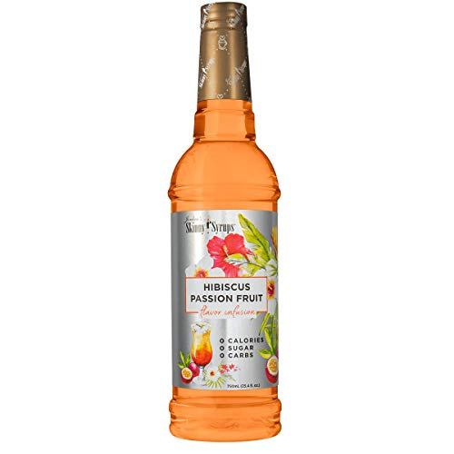 Jordans Skinny Syrups Sugar Free Flavor Infusion Syrup - Hibiscus Passion Fruit - 0 Calories 0 Sugar 0 Carbs - Gluten Free, Keto Friendly, Made in the USA