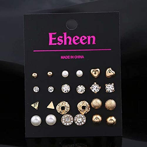 ZheJia 12 pairs set jewelry set combination card more studs Gold