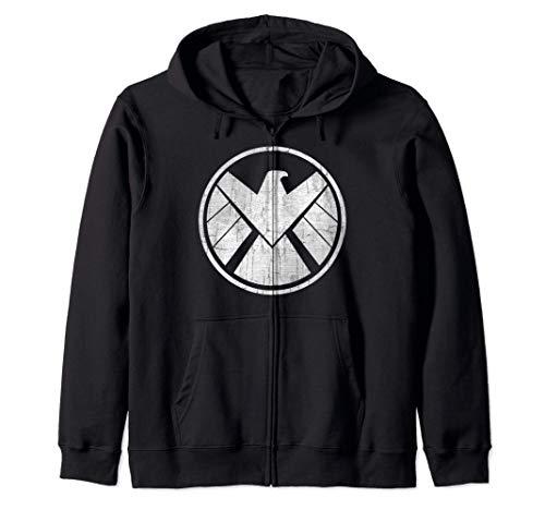 Marvel Agents of S.H.I.E.L.D. Grungy Logo Vintage Felpa con Cappuccio