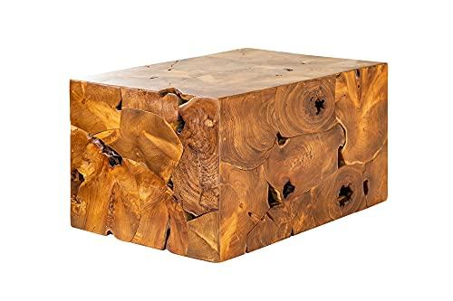 Mesa de centro de diseño (madera de teca, 90 x 50 cm)