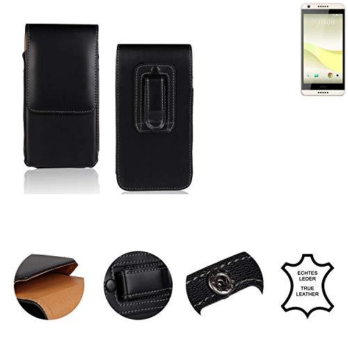 K-S-Trade® Holster Gürtel Tasche Für HTC Desire 650 Handy Hülle Leder Schwarz, 1x
