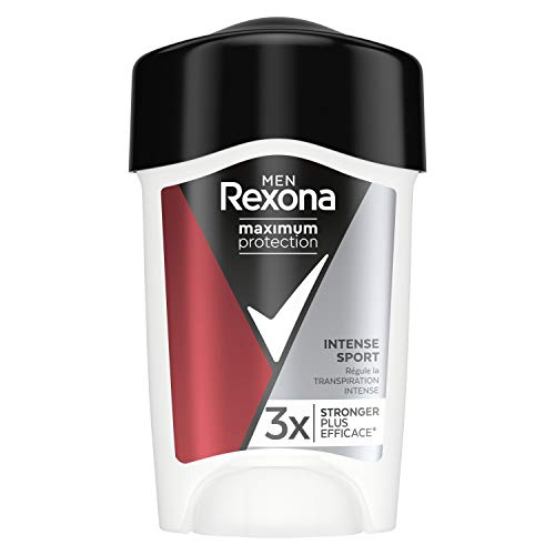 Rexona Déodorant Homme Sport Intense Anti-transpirant Maximum Protection, Efficace contre la transpiration excessive Formule testée dermatologiquement, Protection 96h Stick 45ml