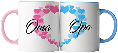 vanVerden Tassen 2er Set - Oma und Opa Pärchen Partner Tassen - beidseitig Bedruckt - Geschenk Idee Kaffeetassen mit Spruch, Tassenfarbe:Weiß/Bunt