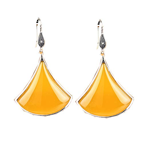 Ohrringe, OhrhäNger,Edelstein-Ohrringe, Retro Karneol Ohrringe Damen Mode 925 Sterling Silber Lange Tropfen Ohrringe,Yellow