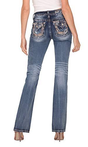 Miss Me Women's Chloe Boot Mid-Rise Horseshoe Detail on Faux Flap Pocket Jeans (Medium Blue, 32)