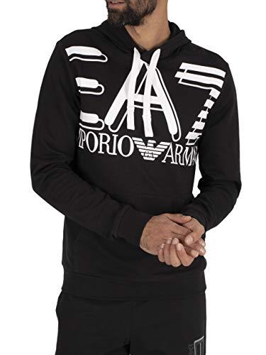 EA7 Heren Grafische trui met capuchon, Zwart