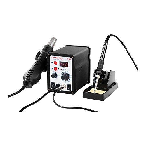 Stamos Soldering - S-LS-4 - Lötstation (Digital, 60 W, 200-480 °C, 120 L/min, Heißluftkolben 650 W, LED + Zubehör) schwarz