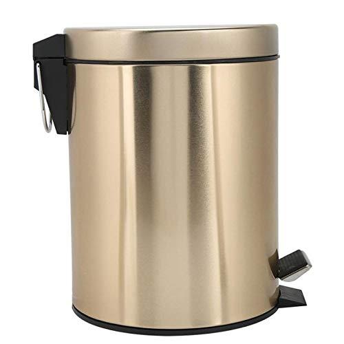 Lpiotyuljt Cubo Basura Reciclaje, Bote de Basura - Baño de Acero Inoxidable Paso de Bote de Basura - Papelera de contenedor de Basura de la Base de Basura con Tapa - Adecuado para Usar (Color : B)