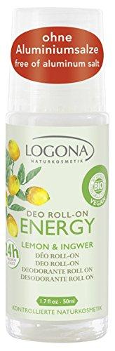 LOGONA Naturkosmetik Déodorant bille Energy - Combinaison tonifiante de citron et de gingembre - Fraîcheur longue durée et fiable - Végétalien - 50 ml