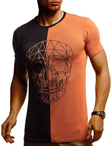 Leif Nelson Herren Sommer T-Shirt Rundhals-Ausschnitt Slim Fit Baumwolle-Anteil Basic Männer Totenkopf T-Shirt Crew Neck Hoodie-Sweatshirt Kurzarm lang LN4670 Schwarz Rot Braun Small