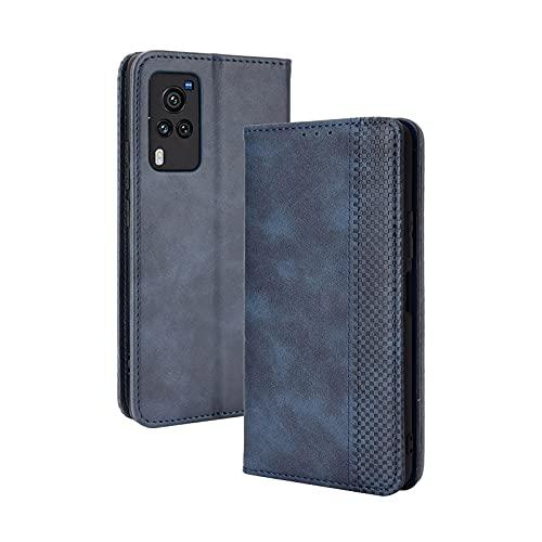 GOKEN Leder Folio Hülle für vivo X60 Pro 5G, Lederhülle Brieftasche Mit Kartensteckplätzen, Premium Flip PU/TPU Handyhülle Schutzhülle Hülle Cover mit Ständer Funktion (Blau)