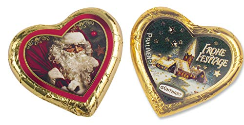 Günthart Pralinenherzen Weihnachten | Weihnachtsmann | Nikolaus | Frohe Festtage | Vollmilchschokolade mit Nougatcreme | 2x24g