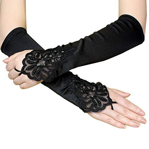 AmyGline Etikette hohle Nachtclub handschuhe Hochzeit Handschuhe Schwarze Elegante Flapper Abendoper Satin Handschuhe für Frauen Ellenbogenlänge der 1920er Jahre