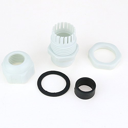Hilitchi 60 Piece Nylon Plastic Waterproof Adjustable 3.5-13mm Cable Glands Joints Cable Gland - PG7, PG9, PG11, PG13.5, PG16 (Gray-60pcs)