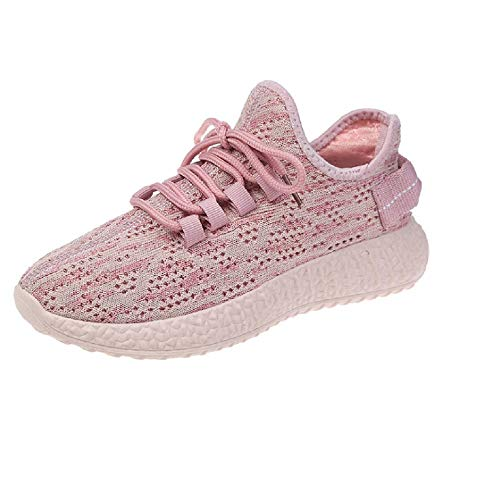 HMQ Coconut Flying Woven Female Casual Breathable Athletic Fashion Sneakers Lightweight Sport Shoes (8.5 D(M) US, Pink)