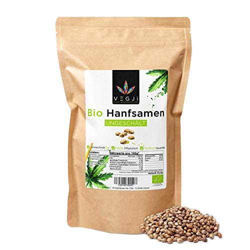 Bio Hanfsamen ungeschält 1000g, aus deutschem & französischem Bio-Anbau, reich an Omega 3, 6 & 9 Fettsäuren, reich an Eiweiß