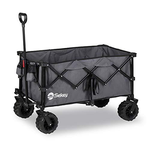 Sekey Faltbarer Bollerwagen, tragbarer Strandwagen Außenwagen Faltwagen, Trolley Outdoor Folding Wagon, Grau…